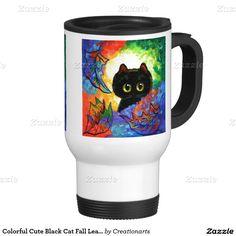 Half off Mugs! Use code FALL4ANEWMUG http://www.zazzle.com/colorful_cute_black_cat_fall_leaves_creationarts_mug-168607702304721792?CMPN=shareicon&lang=en&rf=238693571731401261 #fallmugs #catart #blackcat #halloweenmugs