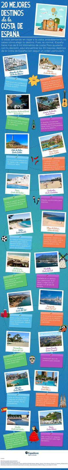 20 mejores destinos de la costa de España #infografia