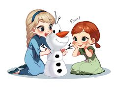 Little Elsa and Anna by Soeji #disney #frozen #fanart
