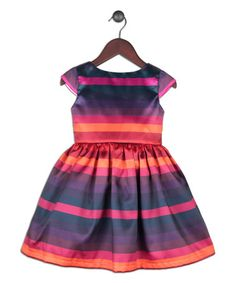 Love this Pink & Purple Cap-Sleeve Bow-Embellished Dress - Toddler & Girls on #zulily! #zulilyfinds
