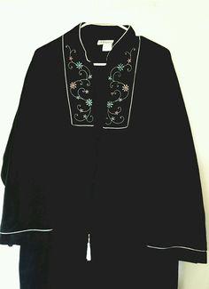 Vintage Adesso! Embroidered Velour Robe Sz XXXL Black House Robe Warm Zip Front #adesso #Robeshousecoatbathrobehostess #Everydaycasuallounge