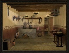 3d reconstruction of a roman culina (kitchen):