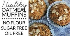 This Healthy Oatmeal Muffins Recipe contains No Flour, No Sugar, & No Oil Healthy Muffin Recipes, Quick Healthy Breakfast, Breakfast On The Go, Healthy Muffins, Breakfast Recipes, Healthy Cooking, Healthy Sweets, Breakfast Ideas, Healthy Eating