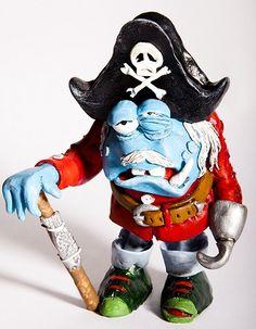 Bosun - A blue, miserable pirate! A polymer clay sculpture