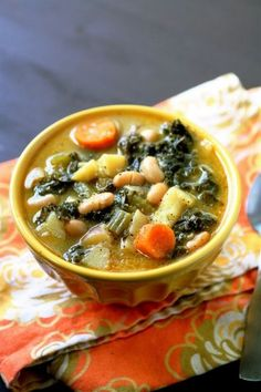 I love white bean and kale soup! I think I'll try this without the potatoes. Maybe add some grilled shrimp? Broccoli?