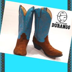 """DURANGO Western Ware Boots- Sz 7.5 Bright blue, almost turquoise leather and brown suede western boots from DURANGO, size 7.5 M.  They measure 12 1/2"""" from bottom of heel to top of boot and heels are 2"""" high.  Condition is excellent and, as you can see, very very little west to the sturdy leather soles!  Durango Shoes Heeled Boots"""