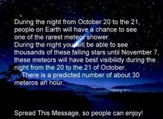 The Orionid Meteor Shower Is Peaking This Weekend! (Saturday, October 20, 2012). Click Pic to read more