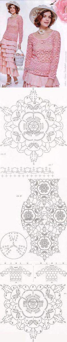 Ажурная кофточка цветочными мотивами. Описание, схемы вязания // Larisa Kolomiiets