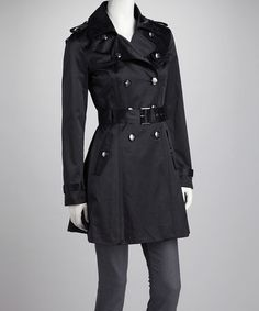 Take a look at this Black Sheen Trench Coat by Jessica Simpson Collection on #zulily today!