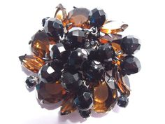 Verified Juliana DeLizza & Elster Amber Rhinestone Brooch Pin Black Glass Dangle Vintage 1960s