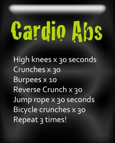 Great 10 minute workout. #cardio #abs #workout