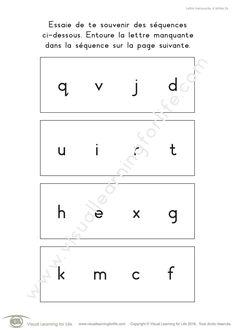 Dans les fiches de travail « Lettre manquante. 4 lettres » l'élève doit retenir la séquence sur la première page pour pouvoir identifier la lettre manquante sur la seconde page.