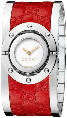 """Twirl"" Leather and Stainless-Steel Bangle-Watch 