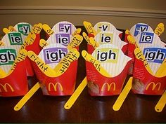 Phonics This is such a great idea for teaching and practicing phonics! You simply take McDonalds fry containers and paint popsicle sticks yellow to represent fries. Then you simply have the students put the fries into the correct container. It is a lot Phonics Reading, Teaching Phonics, Phonics Activities, Kindergarten Literacy, Teaching Reading, Classroom Activities, Classroom Ideas, Teaching Ideas, Elementary Teaching