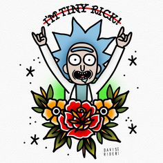 "davisrider: ""TINY RICK from my Rick & Morty flash sheet! Get one at davisriderprints.etsy.com """