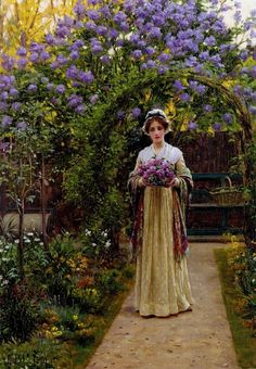 ⊰ Posing with Posies ⊱ paintings of women and flowers - LILACS, BY EDMUND BLAIR LEIGHTON