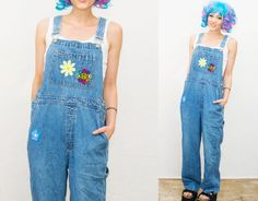 90s VTG Daisy Long Blue Denim Overalls / Dungarees / romper jumpsuit / denim / jean pants / size small Medium / 90s 1990s