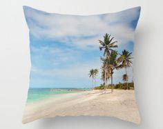 Arbres Palmbeach jeter coussin ou oreiller couverture Tropical Beach décor Cottage Living Room Caraïbes blanc sable Aqua Ocean chambre Home Decor