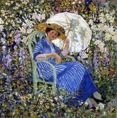 Frederick Carl Frieseke 'In the Garden' c.1910-12 Frederick Carl Frieseke [American Impressionist artist who painted in France. 1874 – 1939]