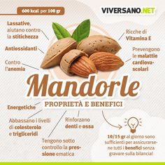 Scarica gratis: Tutte le proprietà delle Mandorle Health And Nutrition, Health And Wellness, Health Tips, Health Fitness, Natural Vitamins, Natural Health, Juice Plus, Superfood, Food Hacks