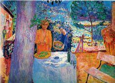 """Pierre Bonnard, """"Décor à Vernon"""" (""""La Terrasse à Vernon""""), vers 1920/1939. Huile sur toile, 148 × 194,9 cm. The Metropolitan Museum of Art, New York, don de Florence J. Gould 1968."""