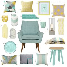Znalezione obrazy dla zapytania pale yellow and blue bedrooms Mint Living Rooms, Living Room Grey, Home Living Room, Living Room Decor, Bedroom Decor, Baby Bedroom, Bedroom Ideas, Room Color Schemes, Living Room Inspiration