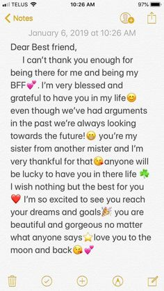 58 Ideas Quotes Birthday Friendship Bff For 2019 Friendship Quotes Happy Birthday Best Friend Quotes, Best Friend Texts, Message For Best Friend, Birthday Quotes For Best Friend, Best Friend Messages, Quotes For Best Friends, To My Best Friend, Letter For Best Friend, Best Friend Notes