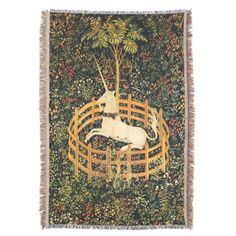UNICORN AND MEDIEVAL FANTASY FLOWERS,FLORAL MOTIFS THROW BLANKET #homedecor #garden #tapestry #antique #art #horses