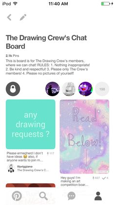 You!! Yes you. If you are on THE DRAWING CREW then go ask Fionna to join The Drawing Crew's Chat Board! It's kinda lonely over there. -@lilyviggiano (I hope you are fine with me addressing this Fionna)