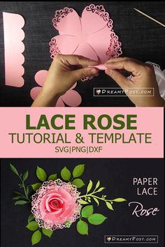 Easy tutorial and template to make lace rose from paper Paper Lace, Crepe Paper, Paper Roses, Rose Tutorial, Paper Flower Tutorial, Silhouette Cameo, Silhouette Machine, Diy And Crafts, Paper Crafts