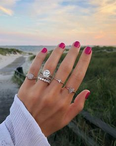 From left to right: Pavé Signet Ring, Criss-Cross Diamond Band, Round Diamond Eternity band, Diamond Trio Ring, Diamond Heart Ring Eternity Ring Diamond, Diamond Bands, Eternity Bands, Diamond Heart, Heart Ring, Round Diamond Ring, Diamond Stud, Rose Gold Engagement Ring, Engagement Ring Settings