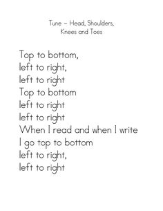 Great reading song for teaching basic print concepts.