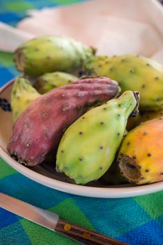 prickly pears on ceramic plate