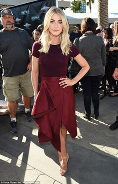 Rockin' it:Julianne Hough showed off her sartorial style once again as she made an appearance on Extra TV with Mario Lopez