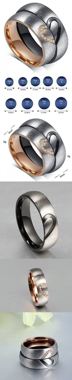 """Global Jewelry Brand New Amazing Titanium Stainless Steel """"We Love Each Other"""" Wedding Band Set Anniversary/engagement/promise/couple Ring Best Gift! (Lady's Ring: Size 8)"""