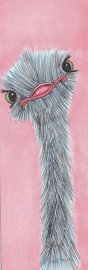 Fuzzy Ostrich Bookmark by SecretRoomDesigns on Etsy