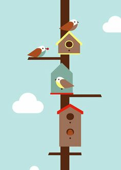 Birdhouses Poster Art Print by Dicky Bird