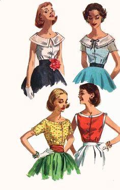 ff49519491f Vintage 1950s Scoop Neckline Set of Summer Blouses Sewing Pattern  Simplicity 2062 Rockabilly 50s Pattern Sie
