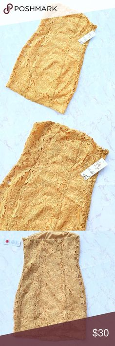 {C. Luce} Golden Yellow Intricate Floral Dress Gorgeous Golden Yellow Intricate Floral Lace unique form fitting body con dress in excellent condition! Size Small. C. Luce Dresses Mini