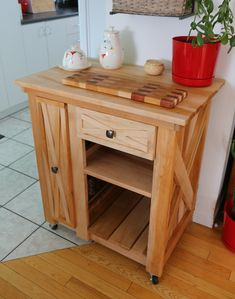 Modified version of the Rustic X small rolling kitchen island | Do It Yourself Home Projects from Ana White
