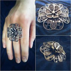 Filigree Jewelry, Silver Filigree, Metal Jewelry, Jewelry Art, Jewelry Rings, Jewelry Accessories, Jewelry Design, Fashion Jewelry, Jewellery
