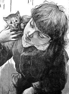 Kitten, Cat on Girl's Shoulder - Curious Clipart - Vintage Clip Art
