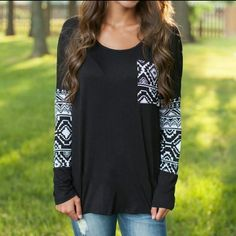 Aztec Patch Shirt Super comfy polyester shirt with Aztec pattern pocket and sleeve. PRICE FIRM UNLESS BUNDLED. NO TRADES Tops Tees - Long Sleeve