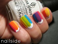Rainbow nails - via Nailside She's got a lot of cute ideas that aren't too complicated!