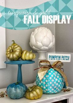 a fresh take on fall decor - turquoise and gold!