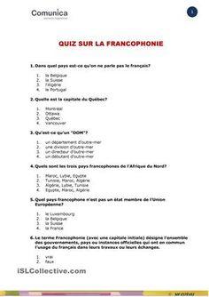 QUIZ 20 QUESTIONS SUR LA FRANCOPHONIE, QUI COMPLÈTE LE DOSSIER DU MêME TITRE - Fiches FLE