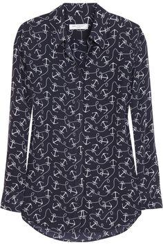 Equipment|Reese anchor-print washed-silk shirt|NET-A-PORTER.COM