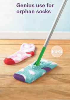 If you run out of sheets for your wet/dry mop (think Swiffer), just dampen an inside-out sock with your favorite cleaning solution, stretch it around the mop head and use as you normally would. The cotton sock will effectively pick up dust and dirt, leaving your floors spotless. Bonus: When you're finished cleaning, you can just toss the sock in the wash and reuse.
