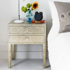 Embossed White Metal 2 Drawer Bedside Table - Side Tables & Coffee Tables - Furniture Graham & Green