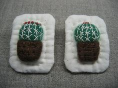 Embroidered Cactus Brooch by TAMA5000SEI